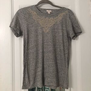 J.Crew Grey beaded T-shirt size small